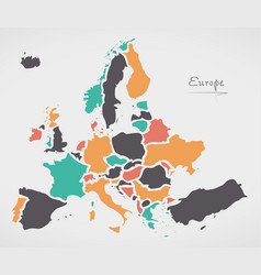 europe mainland map with states vector image