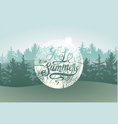 Feel the summer calligraphic grunge badge vector