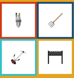 flat icon dacha set of hay fork pump barbecue vector image