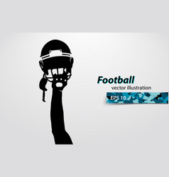 Football helmet and hand silhouette rugby vector