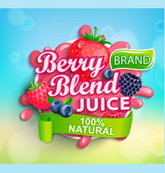 fresh berry blend juice splash logo with apteitic vector image