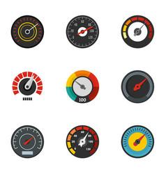 Gauge icon set flat style vector