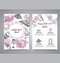 hand drawn halloween brochure template horror vector image