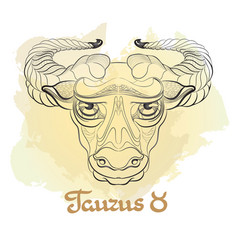 hand drawn line art of decorative zodiac sign vector image