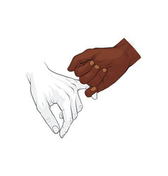 Hand holding little finger vector