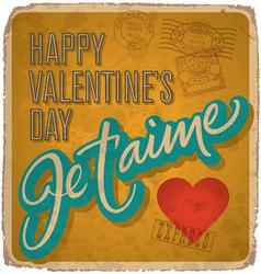 Hand-lettered vintage Valentines card vector