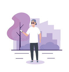 Happy boy with sunglasses and casual clothes vector