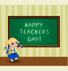Happy teachers day greeting card with cute vector
