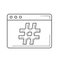 Hash-tag line icon vector