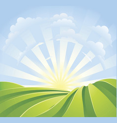 idyllic green fields with sunshine rays vector image