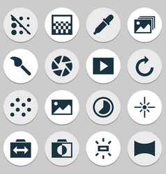 Image icons set with slideshow shutter timelapse vector