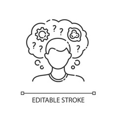 Intellectual disability linear icon vector