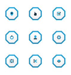 interface icons colored set with user task cut vector image