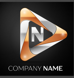 Letter n logo symbol in the colorful triangle on vector