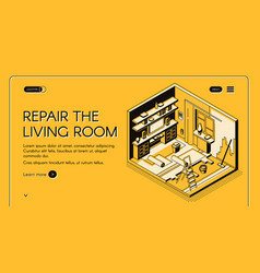 Living room repair works isometric website vector