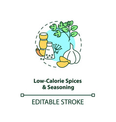 Low calorie spices and seasoning concept icon vector