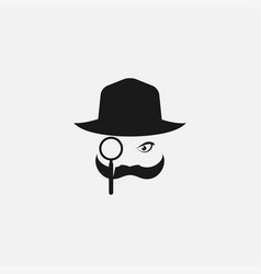 Man detective with mustache and search glass logo vector