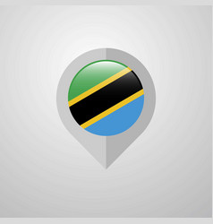 Map navigation pointer with tanzania flag design vector