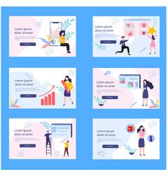 Marketing investor on landing page vector