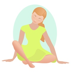 Meditating girl in silence vector