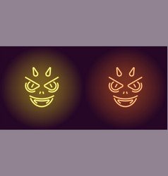 Neon devil in yellow and orange color vector