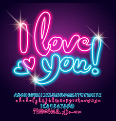 neon light poster i love you vector image