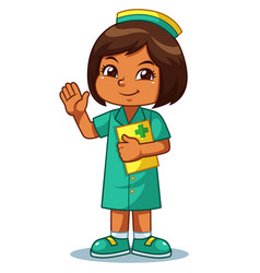 Nurse girl friendly welcoming pose vector