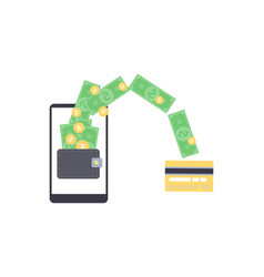 Online money withdrawal from mobile wallet on vector