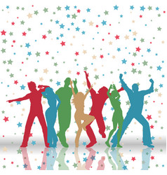 Party people on stars pattern background vector