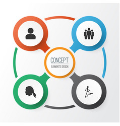 people icons set collection of group ladder vector image
