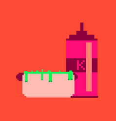 Pixel icon in flat style hotdog and ketchup vector