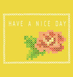 Postcard with imitation cross stitch bud of a vector