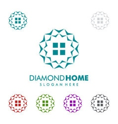 Real estate logo with diamond and home vector