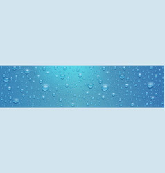 realistic water drops on long blue surface vector image