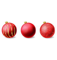 red shiny glitter christmas balls realistic vector image