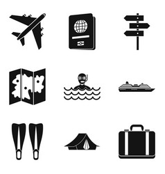 River recreation icons set simple style vector