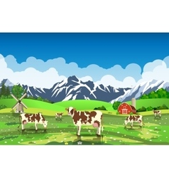 Rural sunrise landscape with cows and farm vector