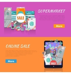 Sale in Electronics Store Web Banners vector