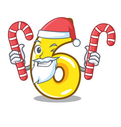 santa with candy number six isolated on the mascot vector image