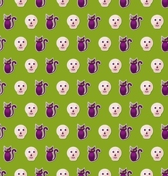 seamless texture with colorful cats and skulls vector image