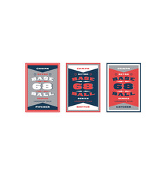 set baseball card design in retro style vector image