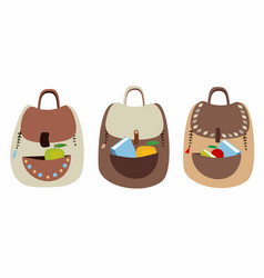 Set of cute fun backpacks vector