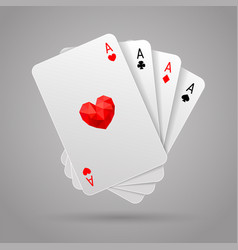 Set of four aces playing cards suits poker hand vector