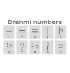 Set of monochrome icons with brahmi numerals vector