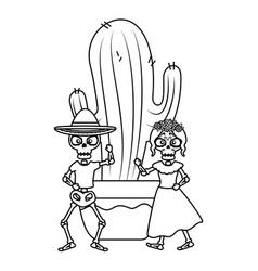 Skeleton katrina and mariachi with cactus vector