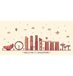 Skyline Singapore linear style vector