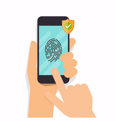 smart phone fingerprint security access flat vector image