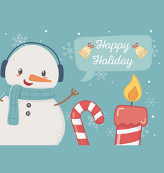 snowman candy cane candle happy holiday card vector image