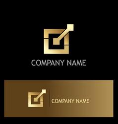 Square connect gold company logo vector