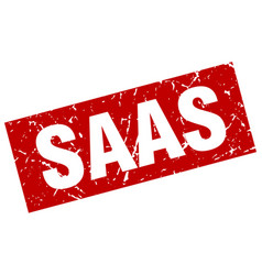 Square grunge red saas stamp vector